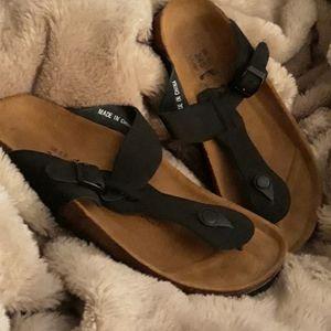 Black Leather Birkenstock Sandals